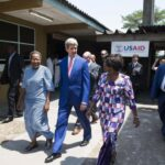 U.S. Secretary of State John Kerry (C) walks alongside Hospital Director Dolores Nembunzu (R) and Sister Mary Joseph (L) at the Fistula Clinic at Saint Joseph's Hospital, funded by USAID, in Kinshasa May 4, 2014.