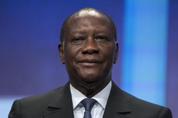 President of Ivory Coast Alassane Ouattara sits on stage in support of a commitment to stop poaching of African elephants announced at the Clinton Global Initiative (CGI) in New York September 26, 2013. CREDIT: REUTERS/LUCAS JACKSON