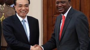 Chinese Premier Li Keqiang, left, shakes hands with Kenyan President Uhuru Kenyatta in Nairobi, on May 10, 2014.