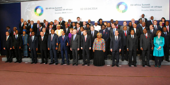 Leaders of the European Union and their African counterparts pose in a group photo during the recent EU-Africa Summit in Brussels, Belgium. African leaders have come under fire over the manner in which they grant foreign powers and multinationals with land concessions leaving their own people landless.