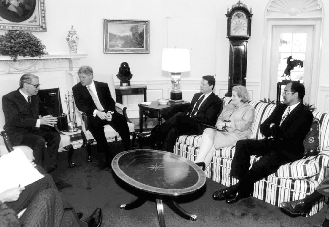 President Clinton met with United Nations Secretary General Boutros Boutros-Ghali, left, in 1994 to discuss situations in Haiti and Rwanda. Also attending the meeting, from right are: U.S. Adviser on Haiti William Gray; United Nations Amb. Madeleine Albright; and Vice President Al Gore. Credit The White House, via Associated Press.