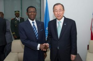 Equatorial Guinea's President, Obiang Nguema Mbasogo, with U.N. Secretary-General Ban Ki-moon