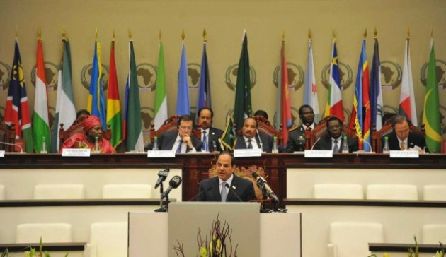 Egyptian President Abdel Fattah al-Sisi adresses the African Union summit.