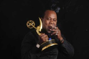 Jeff Koinange celebrates winning his Emmy Award with a cigar. Jeff's book Through My African Eyes, is poised to enter the realm of Kenyan biographies way up high, on the wings of eagles. PHOTO/COURTESY