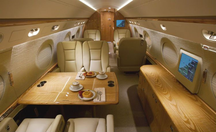 Interior of the Gulfstream 550 (US$53.5 million). David Oyedepo, Bishop of Living Faith Church World Wide and considered Nigeria's richest pastor, owns this and three other private jets.