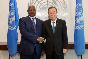 Kutesa meets former UN SG Ban Ki-Moon. Courtesy Photo