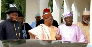 President Goodluck Jonathan and former Presidents Babaginda,Obasanjo and Abubarkar at recent Council of State meeting .