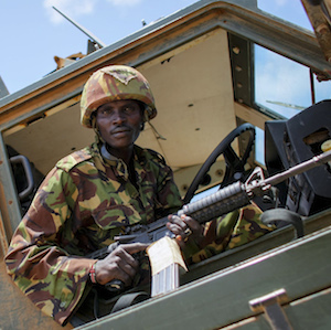 Soldiers of the Kenyan Contingent serving with the African Union Mission in Somalia in the southern Somali port city of Kismayo.