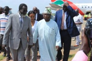 Bashir-Gbandi-L-welcomes-Obasanjo-at-Juba-International-Airport-yesterday