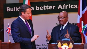 British Prime Minister David Cameron debates with South African President Jacob Zuma on his 2011 visit to several African countries. Photo: Frans Sello waga Machate
