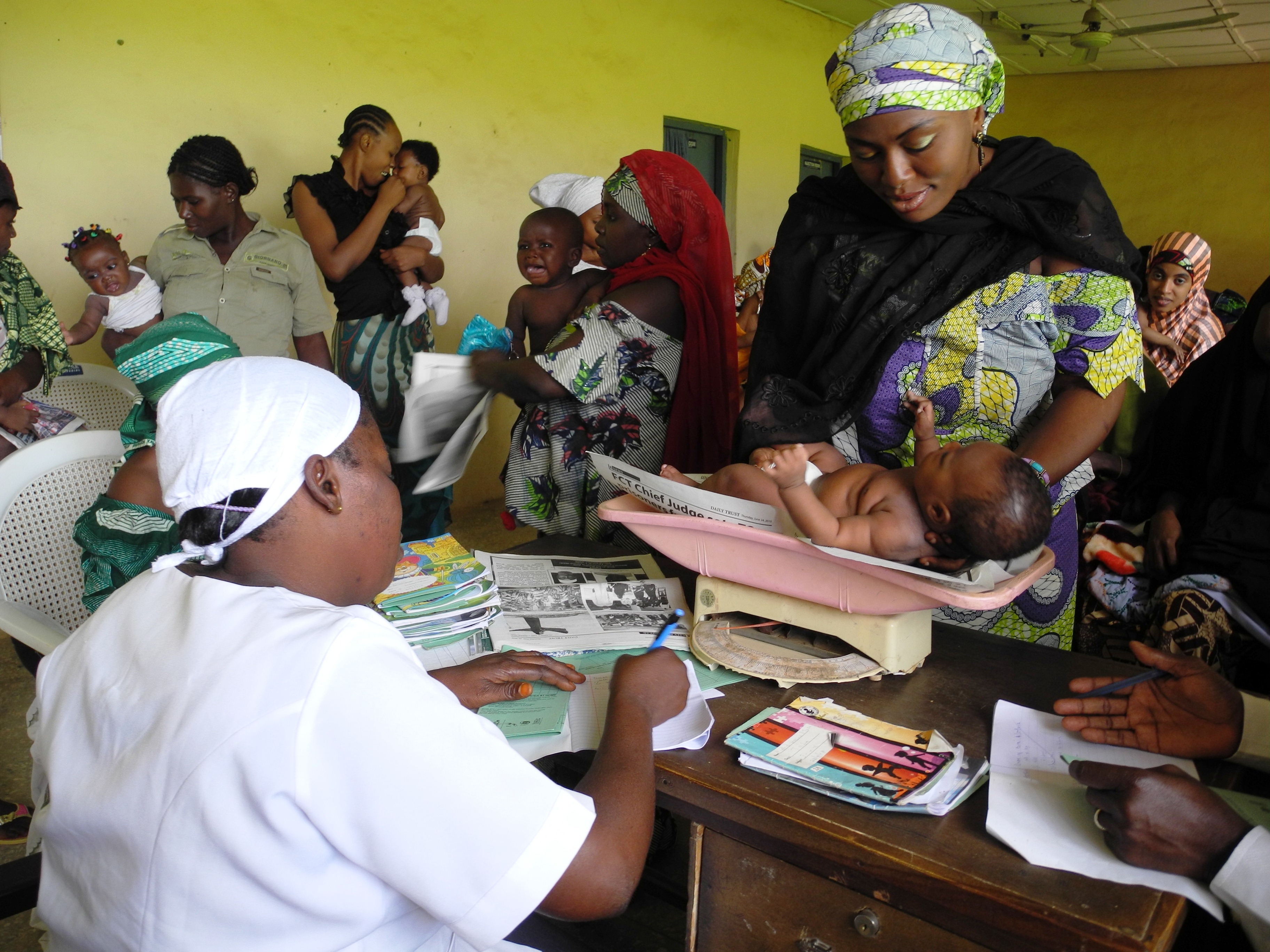 Immunization at a clinic in Nigeria