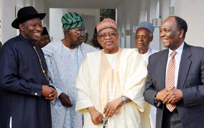 President Goodluck Jonathan with former Nigerian leaders Shehu Shagari, Yakubu Gowon, Ibrahim Babangida,and Ernest Shonekan
