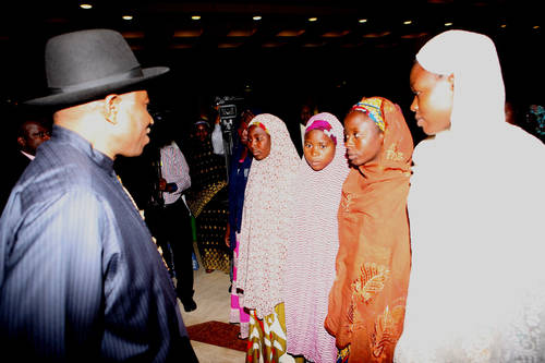 President Goodluck Jonathan meeting with some of the Chiboks girls who escaped from Boko haram in Abuja today State House Photo