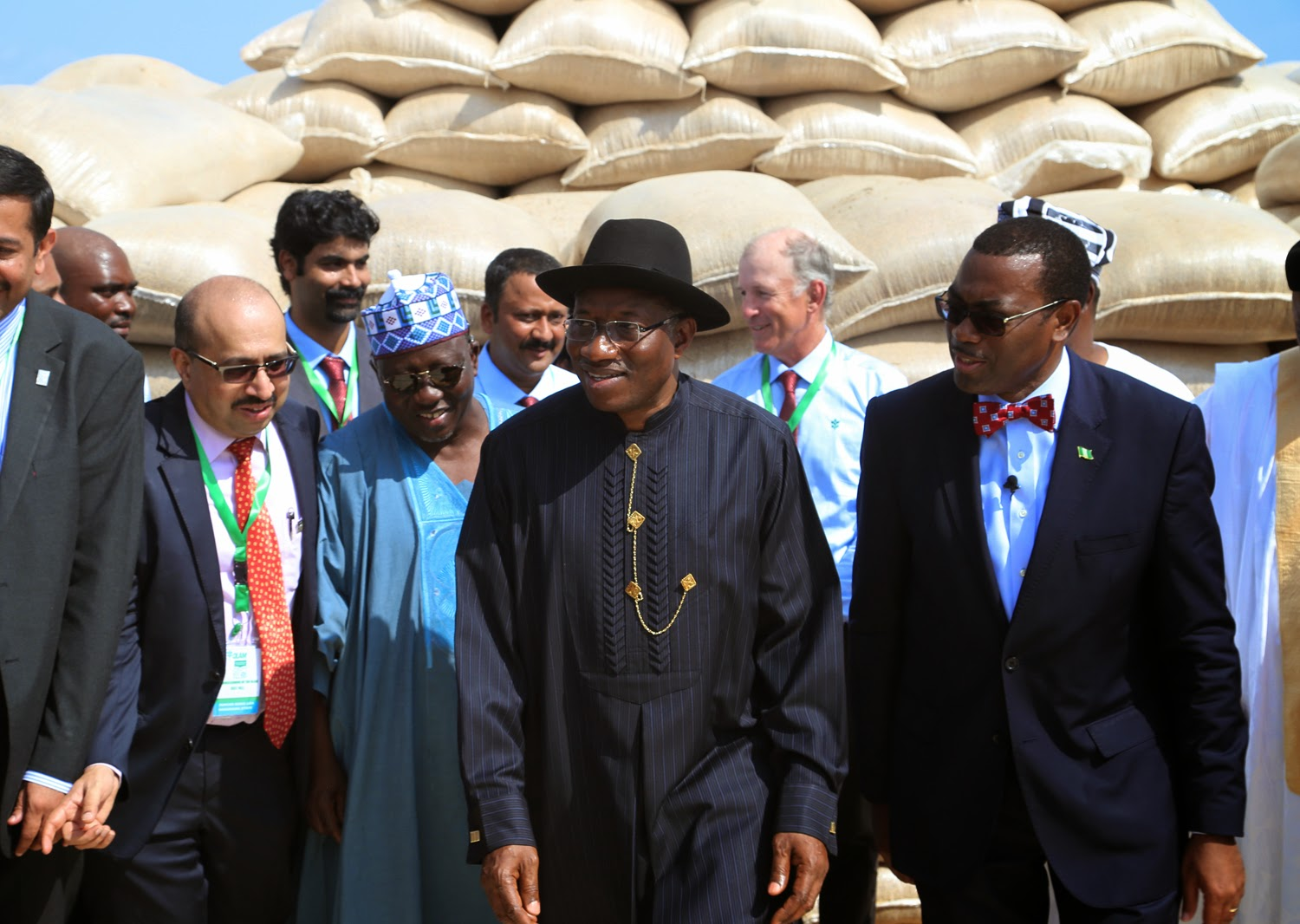 From left Managing Director Olam Rice Nigeria Mr Srivatsan Nasarawa State Governor Tanko Al-Makura President Goodluck Jonathan and Agric Minister Dr Akinwumi Adesina at the commissioning of Olam Rice Farm .Nigeria at Rukubi Nasarawa State on Monday 14th July 2014.