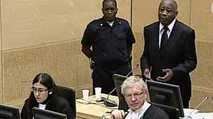 Ivory Coast's Laurent Gbagbo confirms his name before the ICC(phoo BBC)