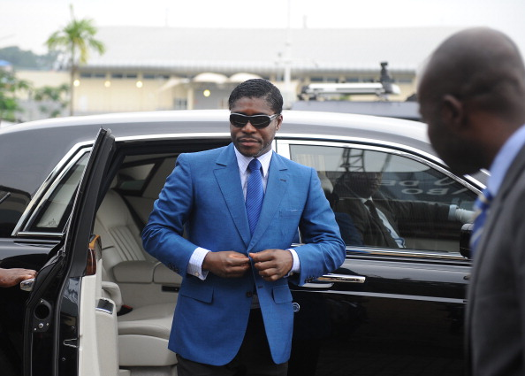 A picture taken on June 24, 2013 shows Teodorin Nguema Obiang, the son of Equatorial Guinea's president Teodoro Obiang and the country's vice-president in charge of security and defence, arriving at Malabo stadium for ceremonies to celebrate his 41st birthday. AFP PHOTO / JEROME LEROY (Photo credit should read JEROME LEROY/AFP/Getty Images)