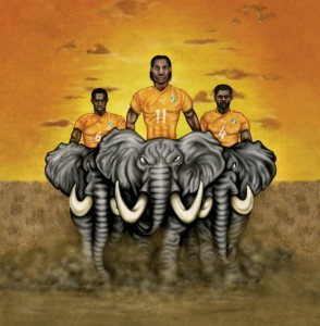 The Ivorian national team is popularly known as Les Éléphants (The Elephants). Image: ESPN ad, 2010