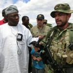 H.E Obasanjo greets a Colombian Special Forces Platoon
