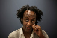 "The Ethiopian-born novelist Dinaw Mengestu in 2010, when his book ""How to Read the Air"" was published. ED OU FOR THE NEW YORK TIMES"