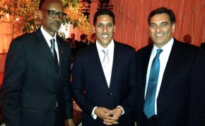 (L to R) Rwanda's President Paul Kagame, USAID Administrator, Dr. Rajiv Shah, Symbion Power CEO, Paul Hinks at the White House Africa Heads of State Dinner