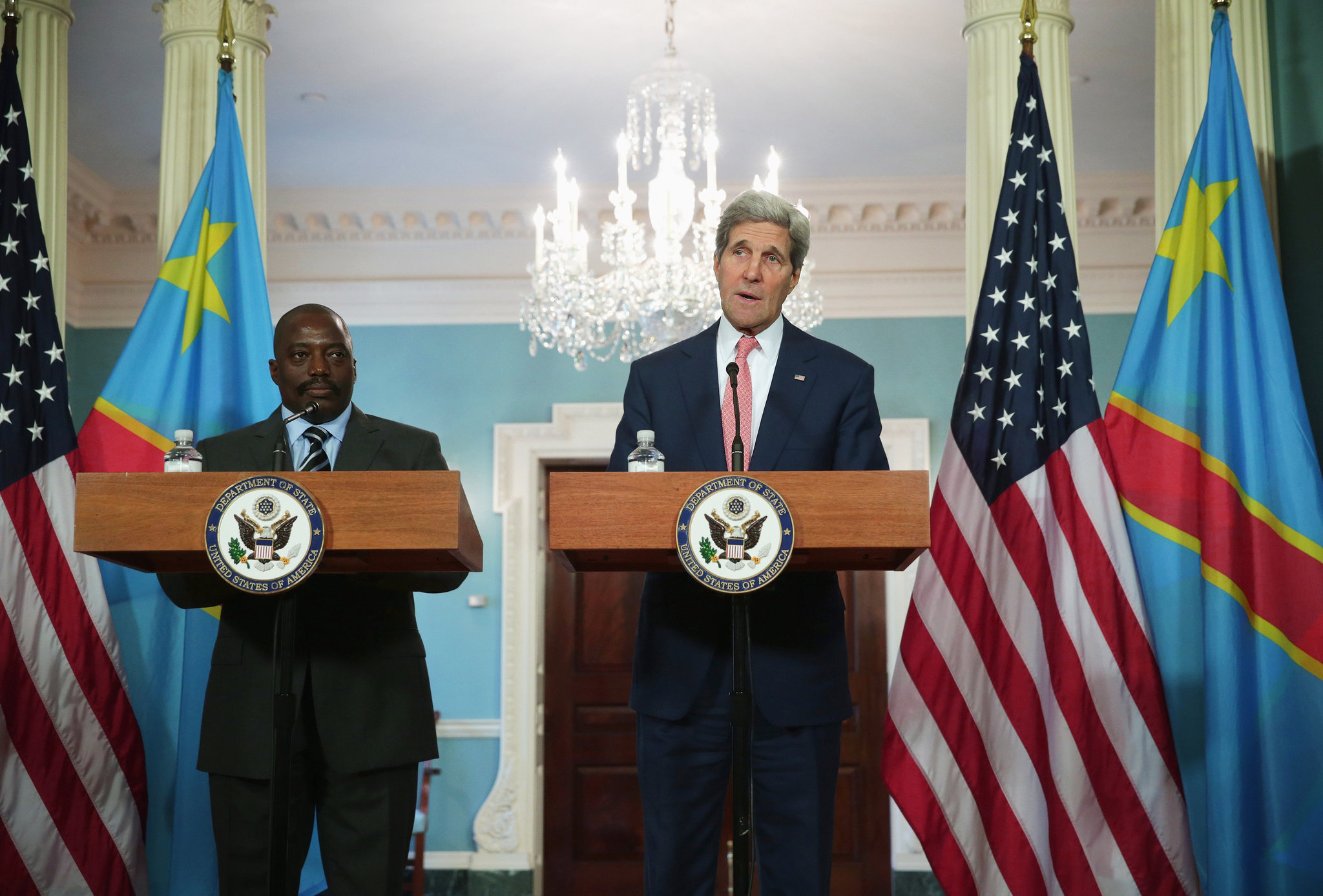 Secretary of State John Kerry and Joseph Kabila, president of the Democratic Republic of Congo, speaking in Washington on Monday. ALEX WONG / GETTY IMAGES