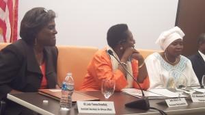 Left to right Assistant Secretary Greenfield, AU Ambassador to US Amina Ali, and AU Chair Dr Dlamini Zuma