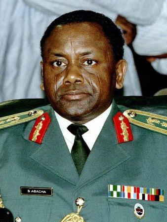 FILE PHOTO SEP93 - Late Nigerian military leader General Sani Abacha is shown in this September 1993 file photo. Switzerland has frozen $550 million in bank accounts belonging to late Nigerian dictator Sani Abacha, his family and aides in a money-laundering investigation 14 December, Geneva's chief prosecutor said on Tuesday.