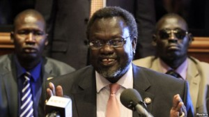 South Sudan rebel leader Riek Machar addresses news conference in Addis Ababa, Ethiopia, May 12, 2014.