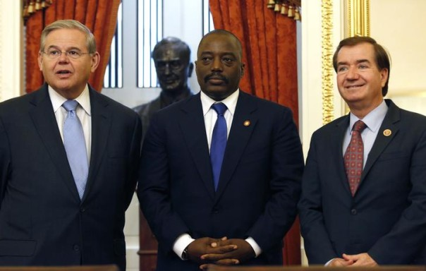 Senate Foreign Relations Chairman Robert Menendez (D-NJ) (L) and House Foreign Affairs Chairman Ed Royce (R-CA) meet with Democratic Republic of Congo's President Joseph Kabila (C) on Capitol Hill in Washington, August 5, 2014. REUTERS/Yuri Gripas
