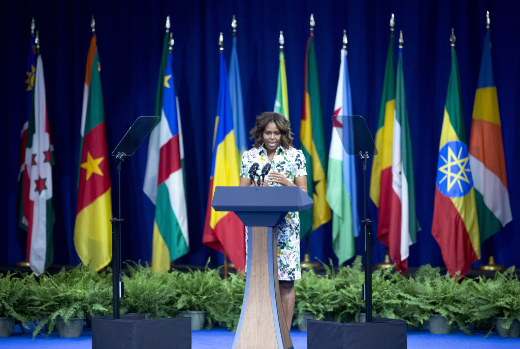 First lady Michelle Obama speaks to participants of the Presidential Summit for the Washington Fellowship for Young African Leaders in Washington, Wednesday, July 30, 2014. (AP Photo/Manuel Balce Ceneta)