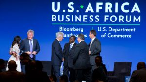 Bill Clinton shakes hands with US and African business leaders at the African Business Forum in Washington, DC. Doug McMillon, CEO of Walmart, is on the far right. Jacquelyn Martin/AP
