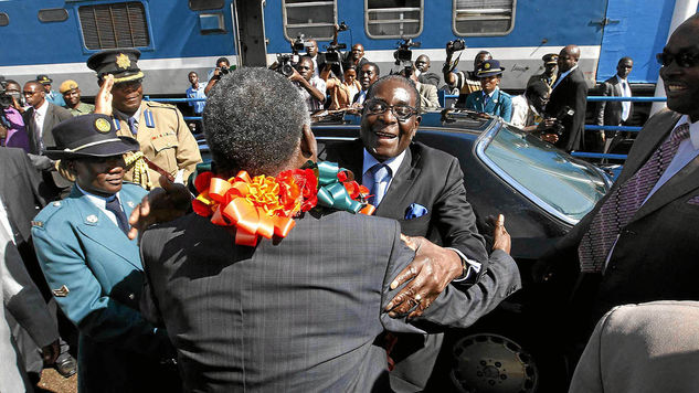 President Michael Sata of Zambia and Robert Mugabe of Zimbabwe .Both countries are experiencing succession battles