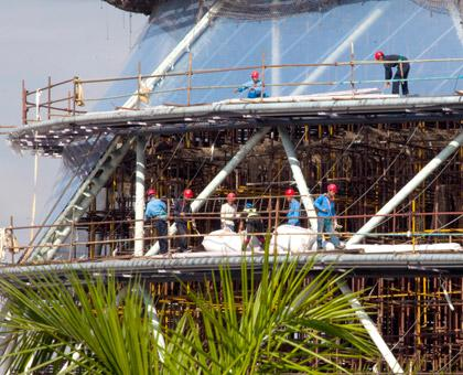Chinese construction workers at the new Kigali Convention Center. (Timothy Kisambira)