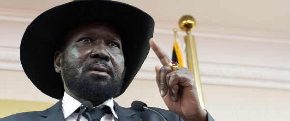 South Sudan President Salva Kiir holds a press conference in a room full of ministers and journalists, urging peace and reconciliation, after four high profile detainees accused of plotting a coup were released earlier on April 25, 2014 in Juba. South Sudan on Friday released four top leaders accused of rebellion and treason, dropping charges for attempting to overthrow the government in a move aimed at ending a four-month-old civil war. AFP PHOTO / CHARLES LOMODONG (Photo credit should read CHARLES ATIKI LOMODONG/AFP/Getty Images)