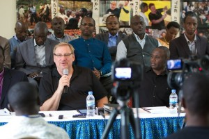 PHOTO: SADDLEBACK CHURCH/SCOTT TOKAR) Pastor Rick Warren announces plans for the All Africa Purpose Driven Church Congress to be held Aug. 6-10, 2015. Warren made the announcement during a press conference held in Kigali, Rwanda, Aug. 11, 2014.