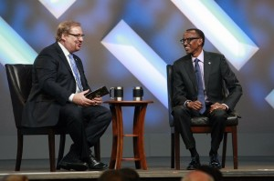 President of Rwanda, His Excellency Paul Kagame,(R) joined Pastor Rick Warren Saturday evening for Kwibuka 20, a special service at Saddleback Church to honor the victims of the Rwandan genocide 20 years later and celebrate the partnership and efforts of The PEACE Plan in Rwanda over the past 10 years, April 26, 2014.