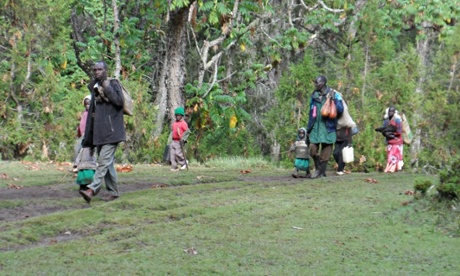 Families from the Sengwer community leave their homes in Embobut, Kenya. Photograph: Forest Peoples Programme