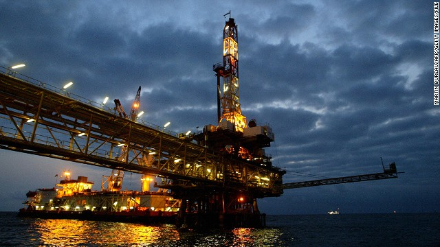 An oil offshore platform off the coast of Angola, Africa's second largest oil producer