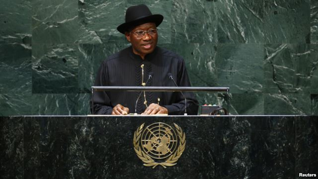 Nigerian president Goodluck Ebele Jonathan addresses the 69th United Nations General Assembly at the U.N. headquarters in New York, Sept. 24, 2014