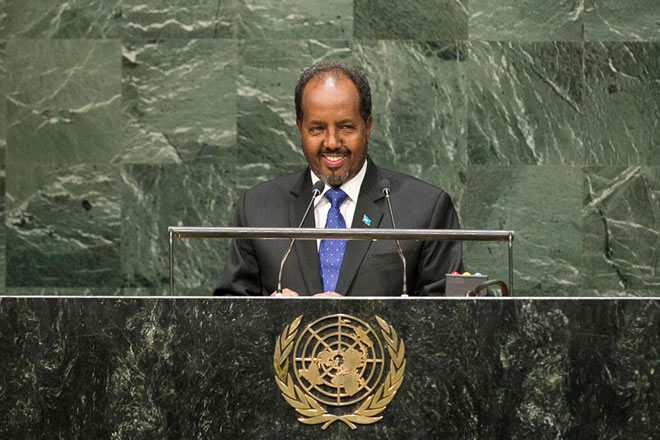 Hassan Sheikh Mohamud, President of the Somali Republic, addresses the General Assembly.