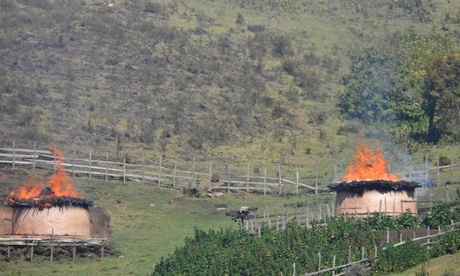 Homes of Sengwer people stand burning in Embobut, Kenya. Photograph: Forest Peoples Programme