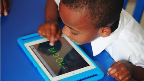 The Qelasy tablet is pre-loaded with the entire school curriculum