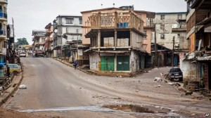 Normally bustling streets in the capital Freetown were deserted on Friday