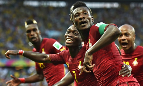 Asamoah Gyan celebrates scoring for Ghana against Germany at the World Cup in Brazil. Photograph: Laurence Griffiths/Getty Images