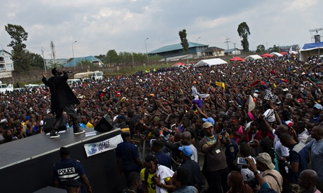 Akon performs at the Peace Day concert at the airport in Goma, the Democratic Republic of the Congo. Photograph: Phil Moore/AFP/Getty Images