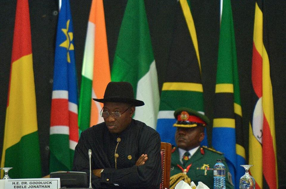Nigerian President Goodluck Jonathan attends the opening of the African Union Peace and Security Summit in Nairobi on September 2, 2014 (AFP Photo/Tony Karumba)