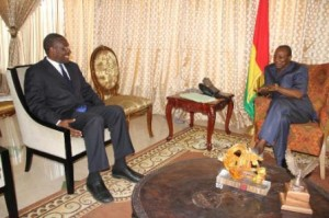 Fomunyoh on a visit to Alpha Conde President of Guinea