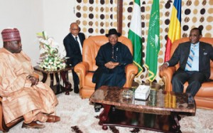 L–R: A former Borno State Governor, Ali Modu-Sheriff, President Goodluck Jonathan, and Chadian President, Idriss Deby, at a meeting in Chad. this was a few days after Sheriff was cited by the Australian negotiator Stephen Davis as a key sponsor of Boko Haram