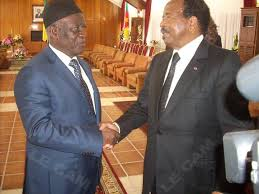 President Biya and Opposition leader Fru Ndi at a meeting in Bamenda