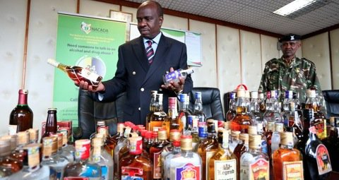 John Mututho, wondering what to do with confiscated bottles. Photo©Billy Mutai for Nation Media Group